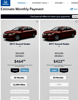 Addendum To Ways To Reduce Debt With A Plan - Estimated Price of Honda per month